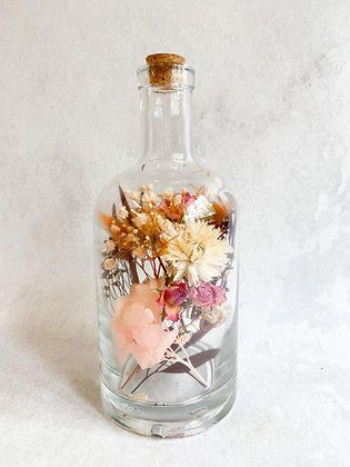 Glazen fles, droogbloemen div kleuropties