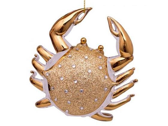 Glazen kerst decoratie gouden krab met diamanten