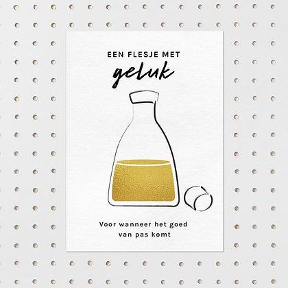 Een flesje geluk - kaart -Letter & Lines