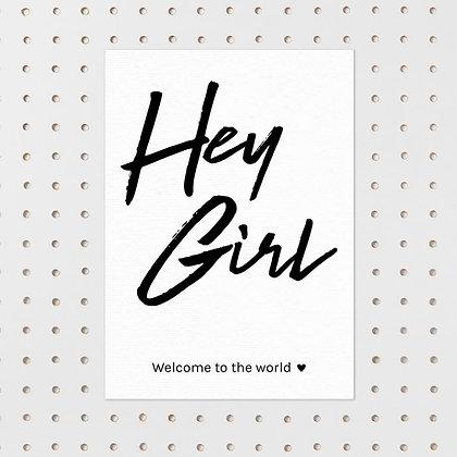 Hey Girl- kaart -Letter & Lines