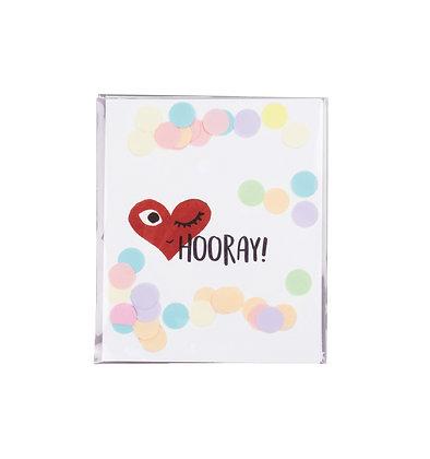Confetti kaart - Hooray