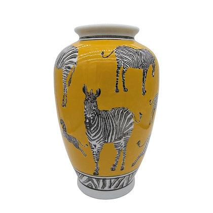 Vaas Yellow with Zebras Ø 20x30cm