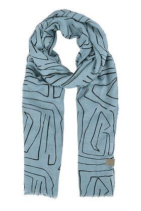 Sjaal met safariprint Grijs-Blauw- Zusss