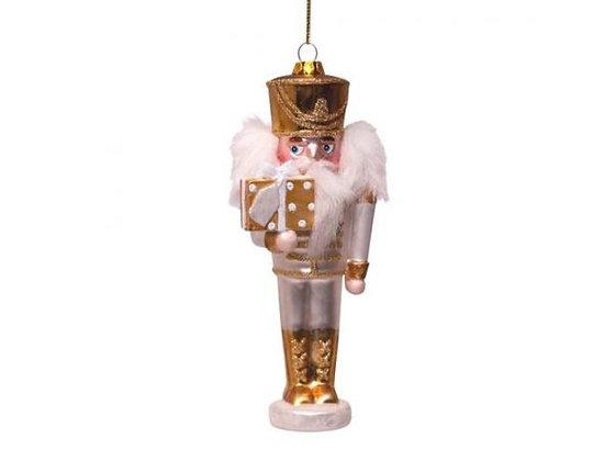 Glazen kerst decoratie hanger gouden notenkraker