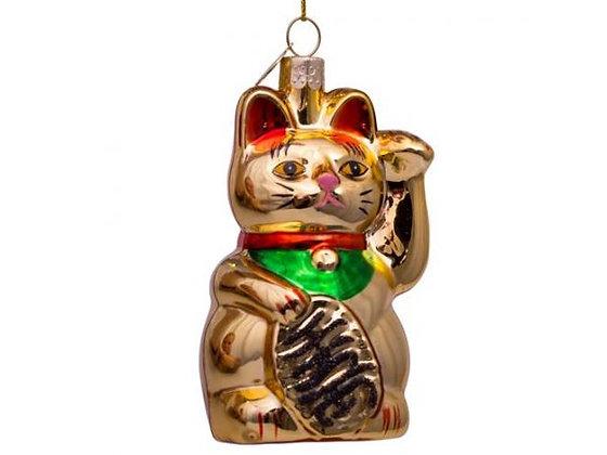 Glazen kerst decoratie hanger gouden lucky cat