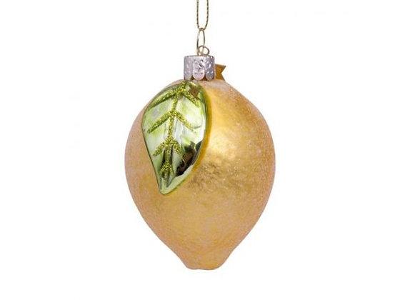 Glazen kerst decoratie gele citroen