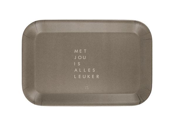 """Zusss Dienblad """"Met jou is alles leuker""""  29X19CM Groen"""