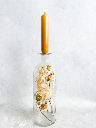 Glazen fles, droogbloemen div kleuropties met kaars