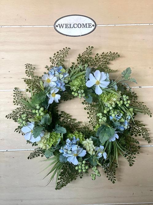 White and Blue Fern Wreath