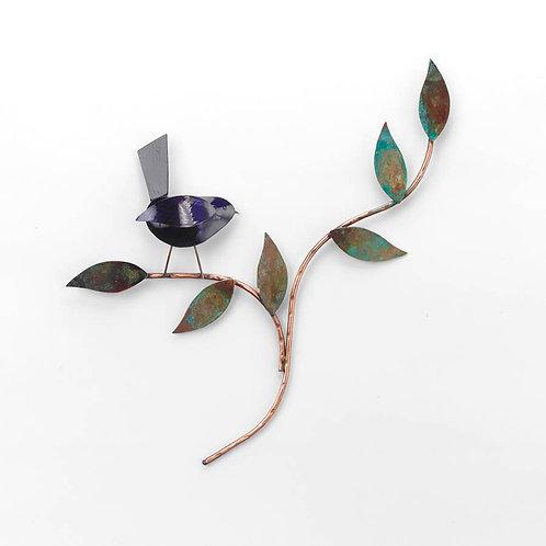 Bird in Tree Copper Wall Art