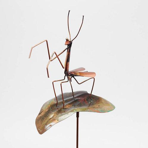 Praying Mantis Copper Garden Stakee