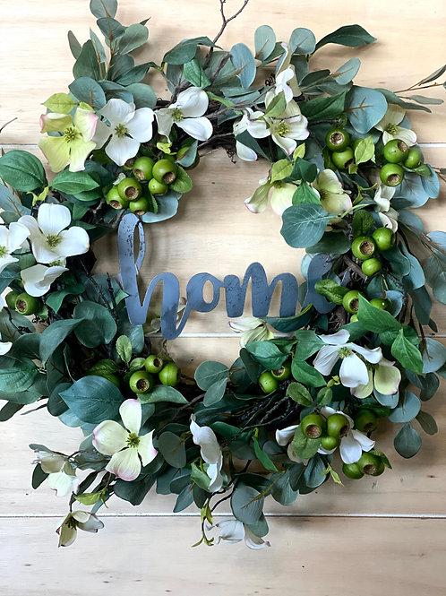 "Dogwood Wreath- Optional ""Home Sign"""
