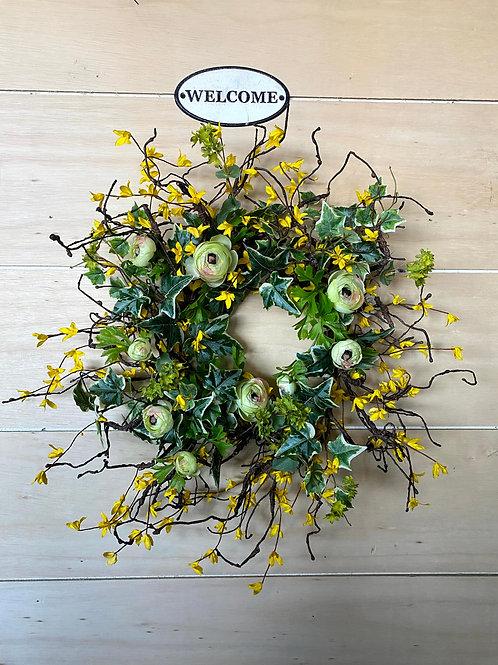 Forsythia Wreath with Ranunculus
