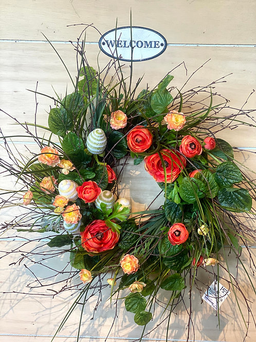 Orange Ranunculus Birch Wreath