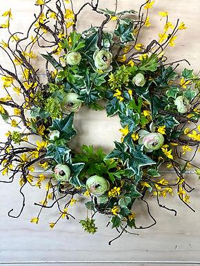 Forsythia & Ranunculus Wreath