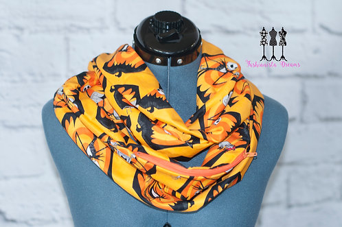 Orange Nightmare Before Christmas Pocket Infinity Scarf