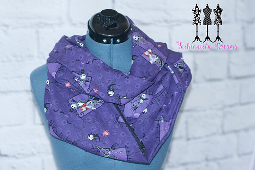 Purple Nightmare Before Christmas Pocket Infinity Scarf