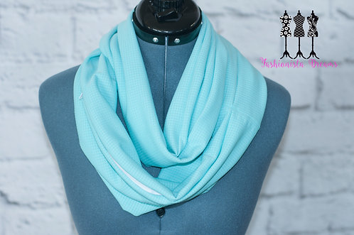 Teal textured fabric Pocket Infinity Scarf