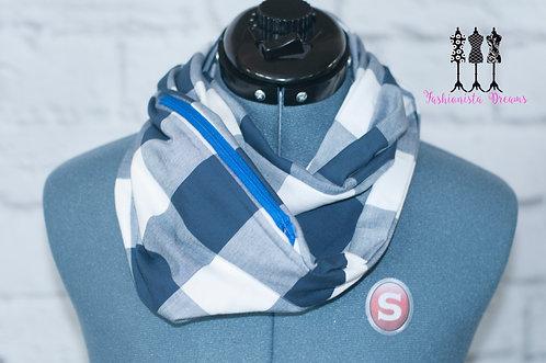 Blue & White Pocket Infinity Scarf
