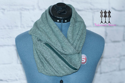 Green super soft Sweater knit Pocket Infinity Scarf