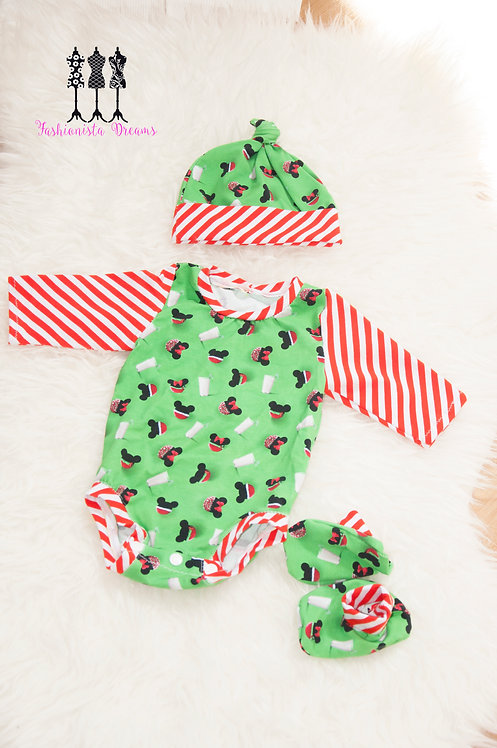 Christmas milk and cookies 3pc baby set