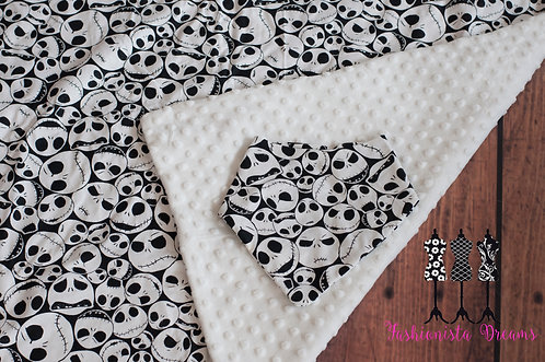 Minky & Cotton Jack baby blanket and bib set