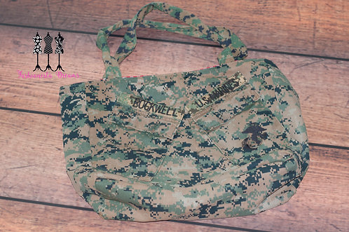 **MADE FROM YOUR UNIFORM THIS IS A SAMPLE ONLY**Marines Large Tote