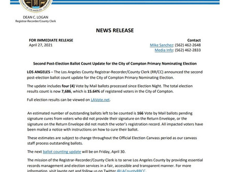 Second Post-Election Ballot Count Update for the City of Compton Primary Nominating Election