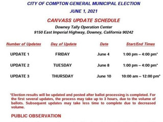 June 1, 2021 Compton Municipal Run-off Election Canvass Schedule