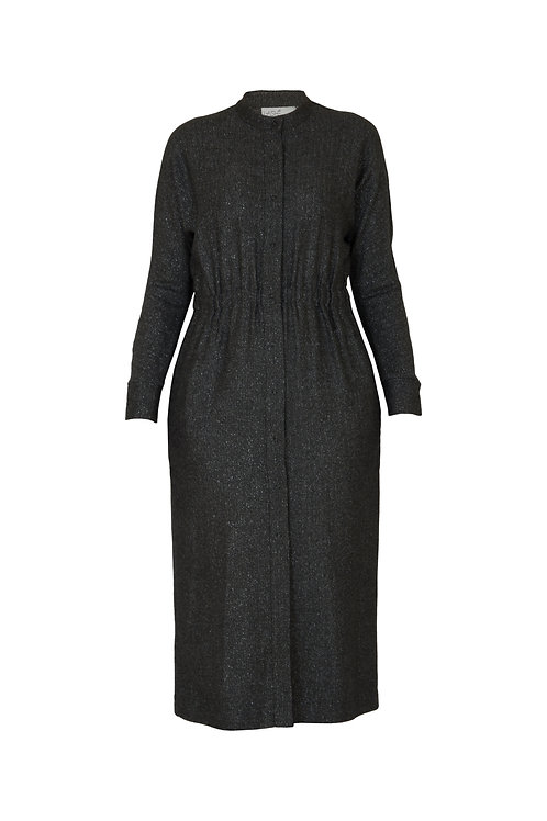 Шерстяное платье-кардиган со стойкой. Строгость, комфорт и тепло.