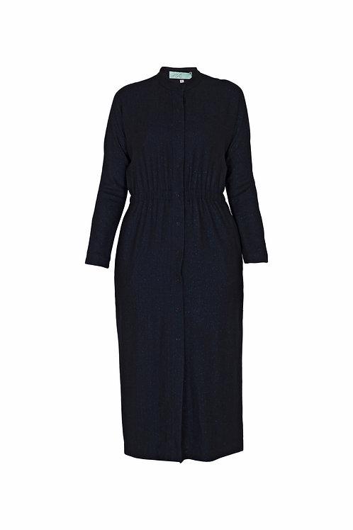 Шерстяное платье-кардиган со стойкой. Строгость, комфорт и тепло.»