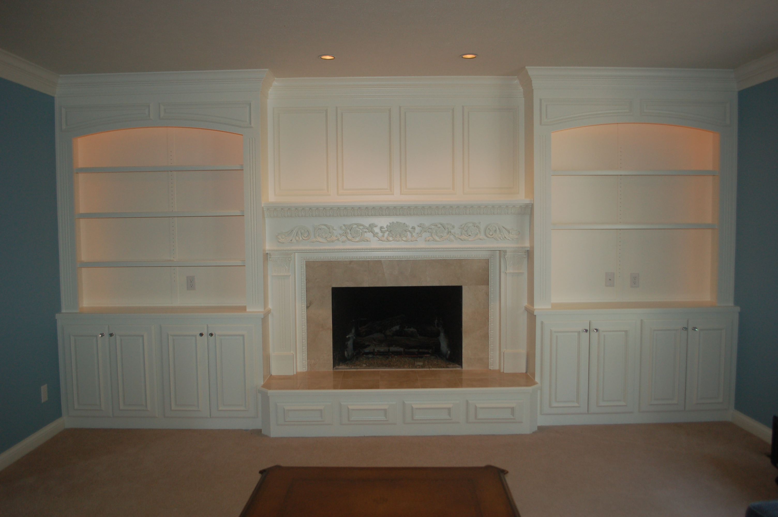 Custom Shelving and Fireplace