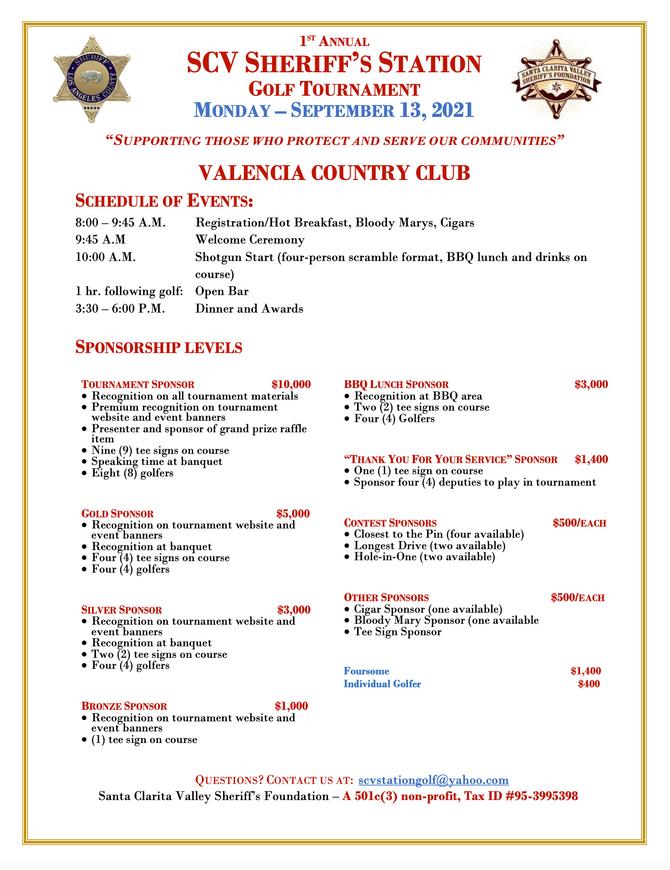 2021 SCV Sheriff's Foundation Golf Tournament