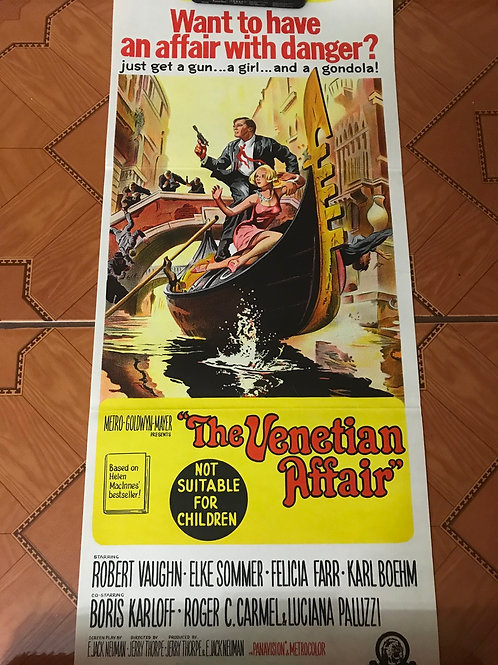 The Venetian Affair Movie Poster Folded (1967) Robert Vaughn Australian Daybill