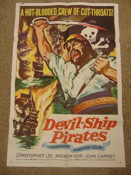 "Devil Ship Pirates (1963) Christopher Lee Hammer Films 27x41"" Movie Poster N7895"