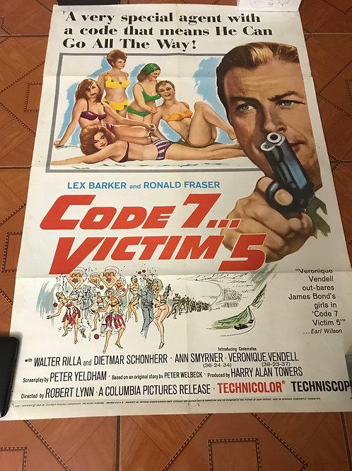 Code 7 Victim 5 (1964) One Sheet Movie Poster Lex Barker Eurospy Crime