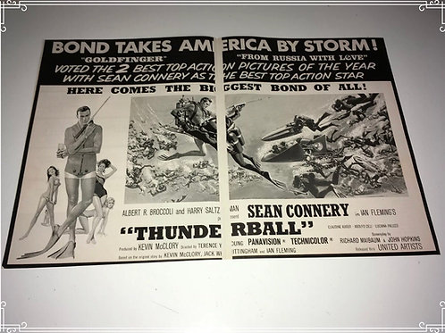 THUNDERBALL Original Movie Trade Ad 1965 Sean Connery Spy James Bond 007 Poster