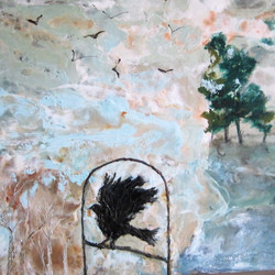 0011 raven dream to fly encaustic