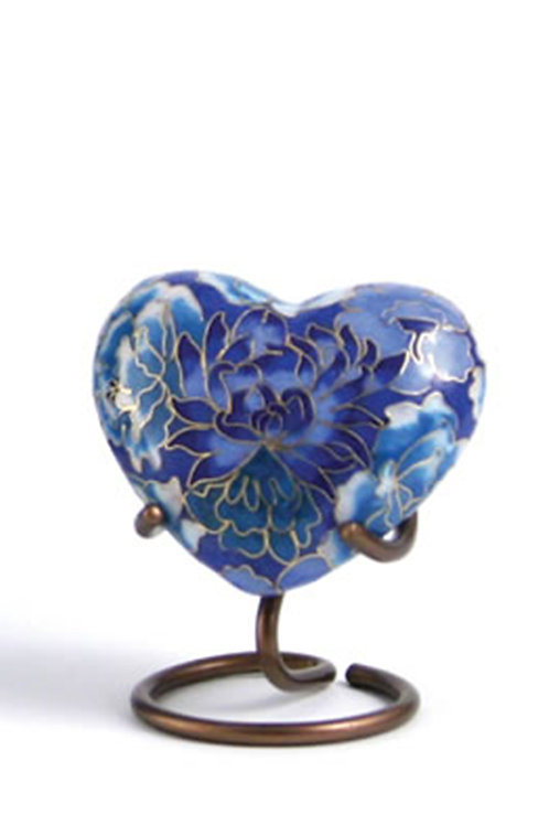 Elite Cloisonné Floral Blue Elite Heart Urn