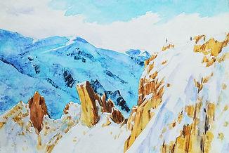 Snow mountains watercolour