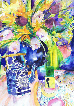 Greek Plate & Flowers