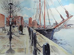 Liverpool docks brushpen line and wash.JPG