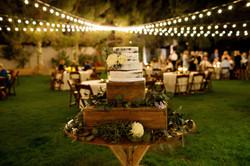 cake table and bistro lighting