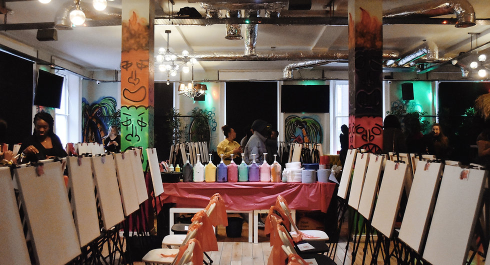 sip-n-stroke sip and paint party empty room shot. Brush N Brunch
