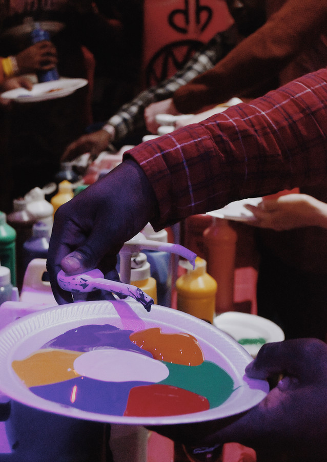 Inside a Sip 'N Stroke paint party session