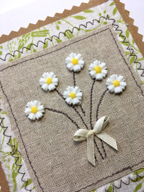 Daisy blank greeting card fabric applique card bunch of daisys a blank card made from layers of beautiful fabric to create a very natural looking card m4hsunfo