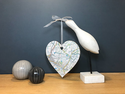 Personalised Moving Home Gift ~ Map Location Hanging Heart Decoration