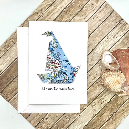 Personalised Map Sailing Boat Card - Card for Any Occasion - Handmade Gift