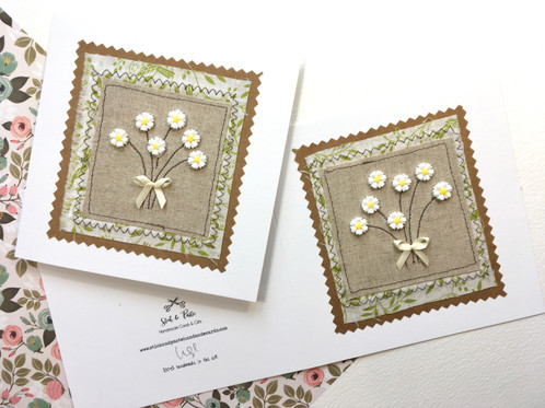Daisy blank greeting card fabric applique card m4hsunfo
