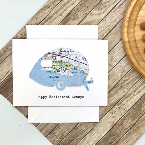 Retro Caravan Card - Exact Map Location Card ~ Any Occasion - Handmade Greeting